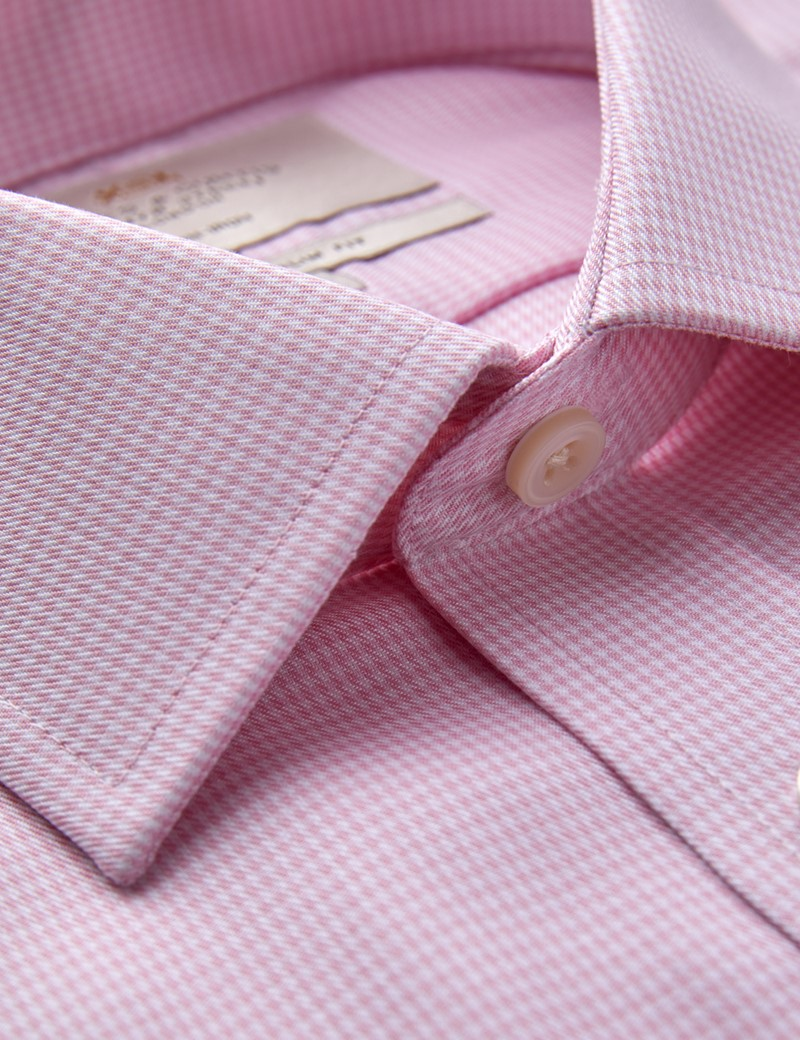 Men's Formal Pink & White Dogstooth Slim Fit Shirt with Chest Pocket and Single Cuffs - Non Iron