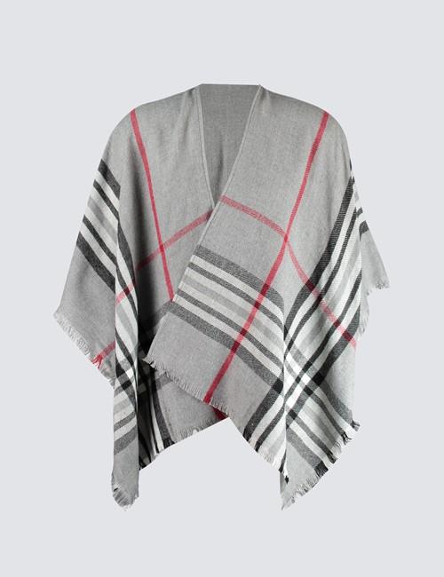 Women's Grey & Red Plaid Shawl