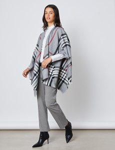 Women's Grey & Red Check Shawl