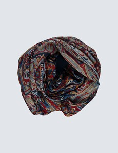 Red & Blue Bold Paisley Scarf
