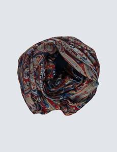 Schal - Wollmischung - Paisley dunkelrot-blau