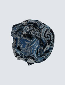 Navy & Blue Big Paisley Scarf