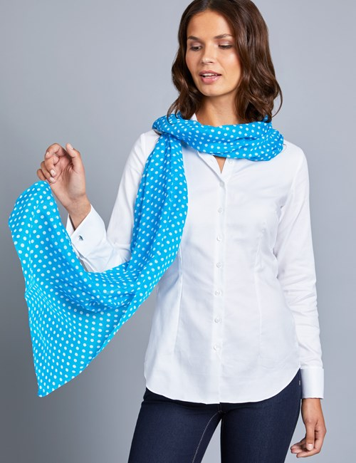 Women's Blue Polka Dot Scarf