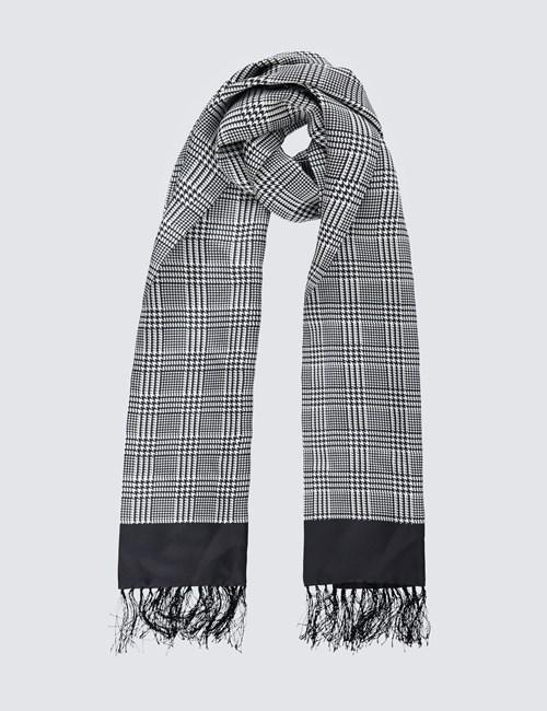 Luxuriöser Herren Schal – Seide – Prince of Wales Karo schwarz & weiß