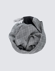 Men's Black and White 100% Silk Prince of Wales Scarf