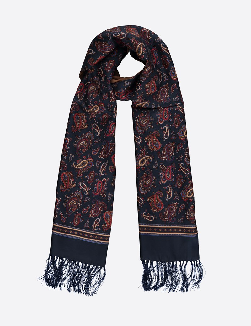 Bold Paisley Navy & Brown Wool and Silk Scarf