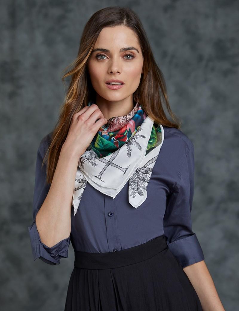 Women's Black & White Leopard Print Silk Scarf