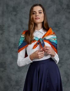 Luxuriöser Damen Schal – Seide – Pferdeprint orange & blau
