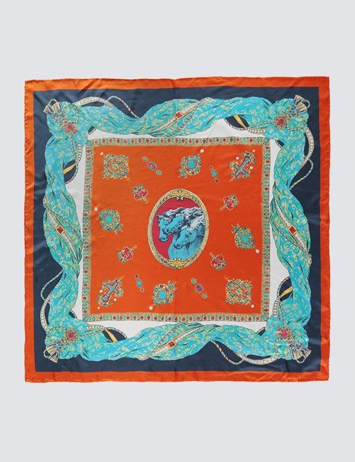 Women's Orange & Blue Horses Print Silk Scarf