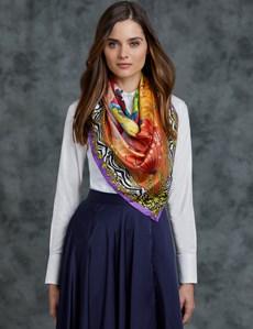 Women's Orange & Purple Parrots Print Silk Scarf