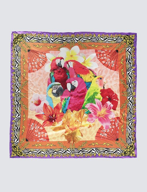Women's Orange & Purple Parrots Print Silk Scarf