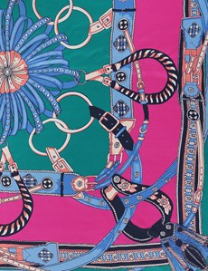 Luxuriöser Damen Schal – Seide – Steigbügelprint pink & grün