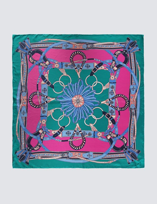Women's Pink & Green Chains Print Silk Scarf