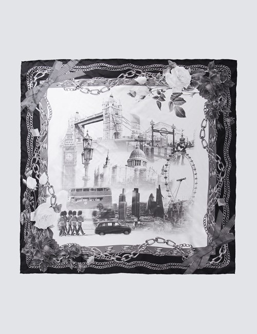 Women's Black & White London Scene Silk Scarf