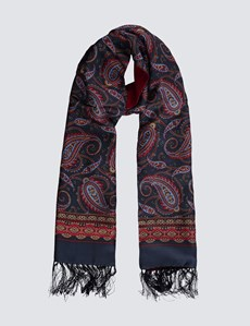 Men's Navy & Burgundy Paisley Wool and Silk Scarf