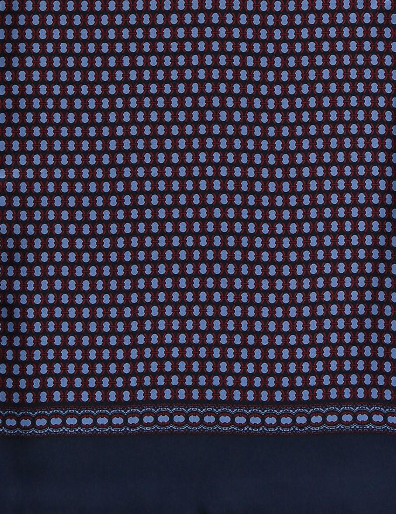 Schal - Wolle-Seide Mischung - weinrot-blau geometrisches Muster