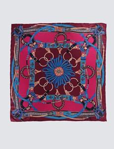 Seidentuch - rosa blau Kettenmuster – Chainprint