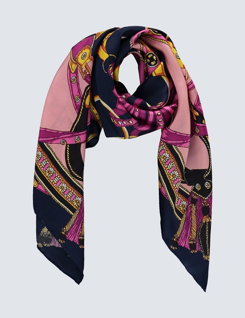 Women's Light Pink & Purple Chain Print Silk Scarf