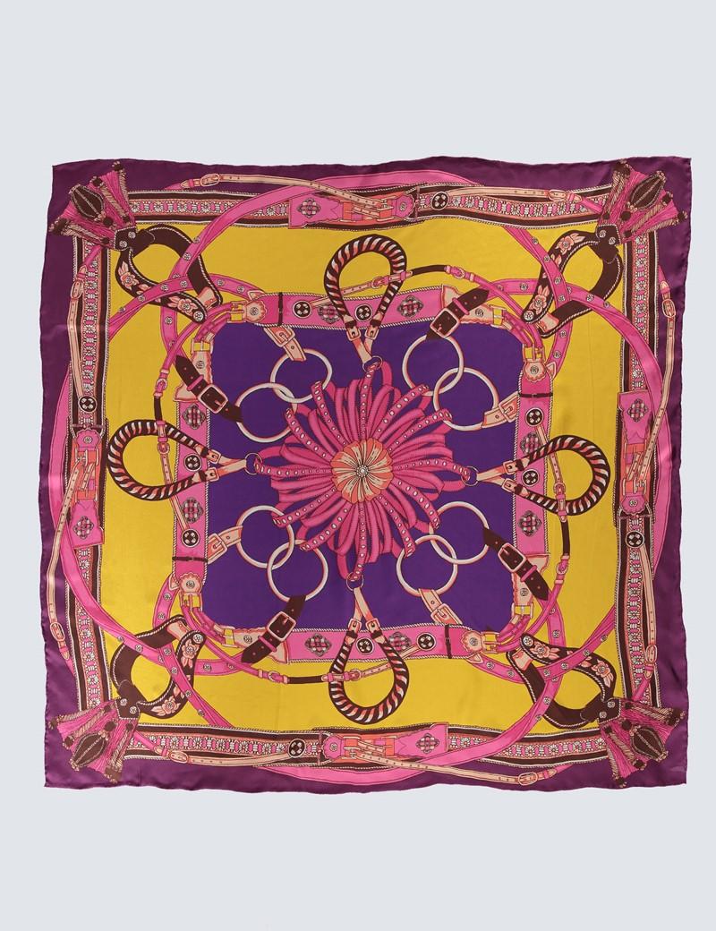 Women's Yellow & Pink Chain Print Silk Scarf