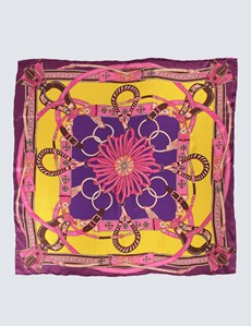 Women's Yellow & Pink Chain Print Silk Scarf