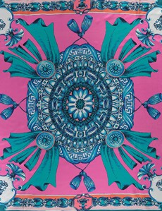 Women's Pink & Teal Floral Print Silk Scarf