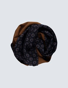Men's Navy & Camel Geometric Print Wool and Silk Scarf