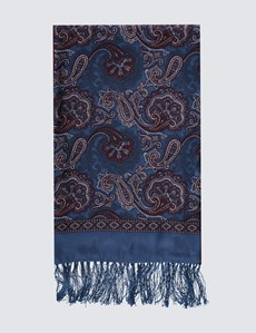 Blue & Burgundy Paisley Wool and Silk Scarf