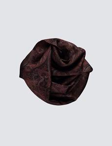 Black & Pink Paisley 100% Silk Scarf