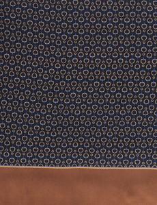 Men's Navy & Camel Geometric Print Scarf - 100% Silk