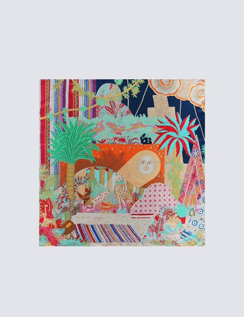 Women's Assorted Bright Scene Print Scarf - 100% Silk