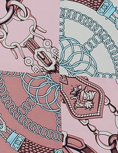 Women's White & Pink Chain Links Print Scarf - 100% Silk