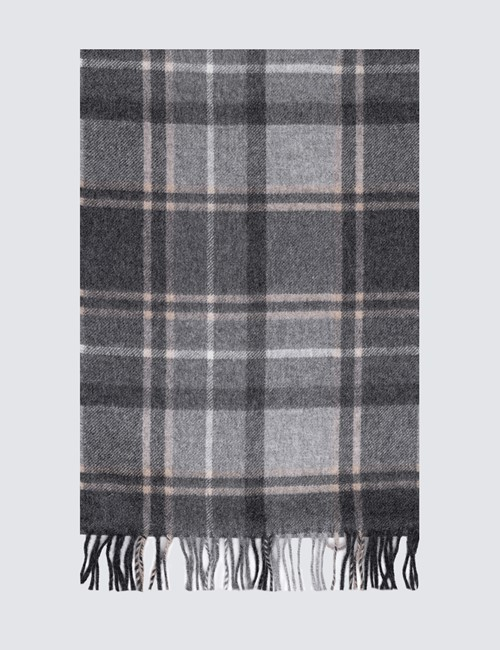 Checked Grey 100% Cashmere Scarf