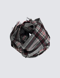 Men's Grey & Red 100% Cashmere Check Woven Scarf