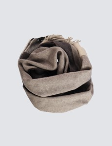 Men's Taupe Wool Mix Check Scarf