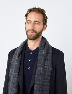 Plaid Grey & Navy 100% Cashmere Prince Of Wales Scarf