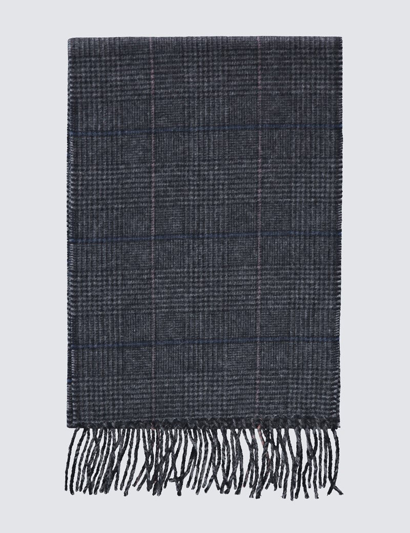 Check Grey & Navy 100% Cashmere Prince Of Wales Scarf