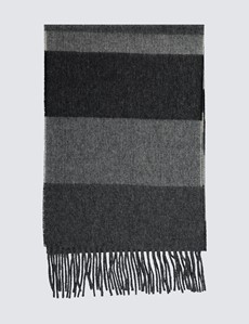 Dark Grey 100% Wool Block Scarf
