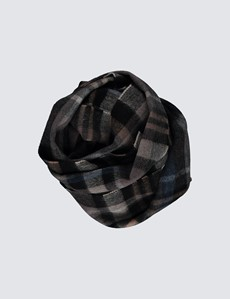 Grey & Brown 100% Wool Plaid Scarf
