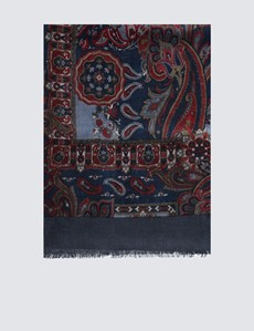 Blue & Red Wool Paisley Scarf