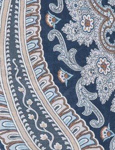 Blue & Brown Paisley Viscose and Wool Scarf
