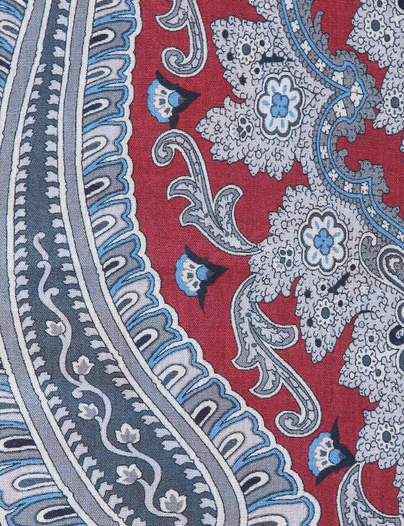 Wine & Navy Paisley Viscose and Wool Scarf
