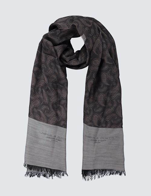 Eleganter Schal – Schurwollmix – Paisleymuster Taupe