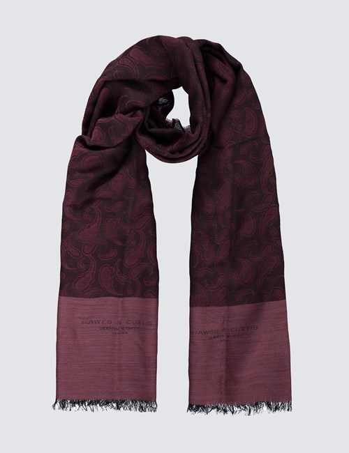 Wine Paisley Wool Woven Scarf