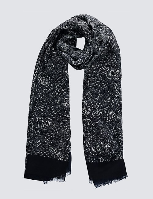 Navy & White Paisley Print Scarf - 100% Wool