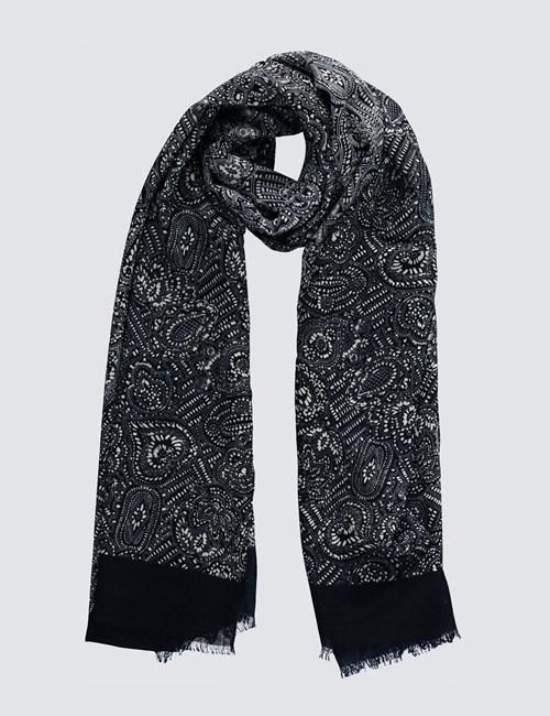 Eleganter Schal – Wolle – Paisleymuster marineblau & weiß