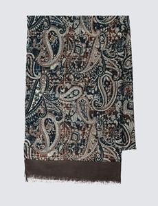 Men's Brown Paisley Print Scarf - 100% Wool