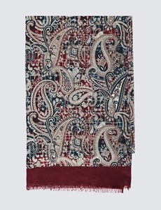 Men's Wine Paisley Print Scarf - 100% Wool