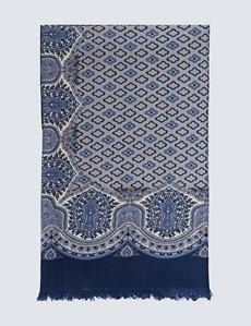 Schal - Wolle - Paisley blau