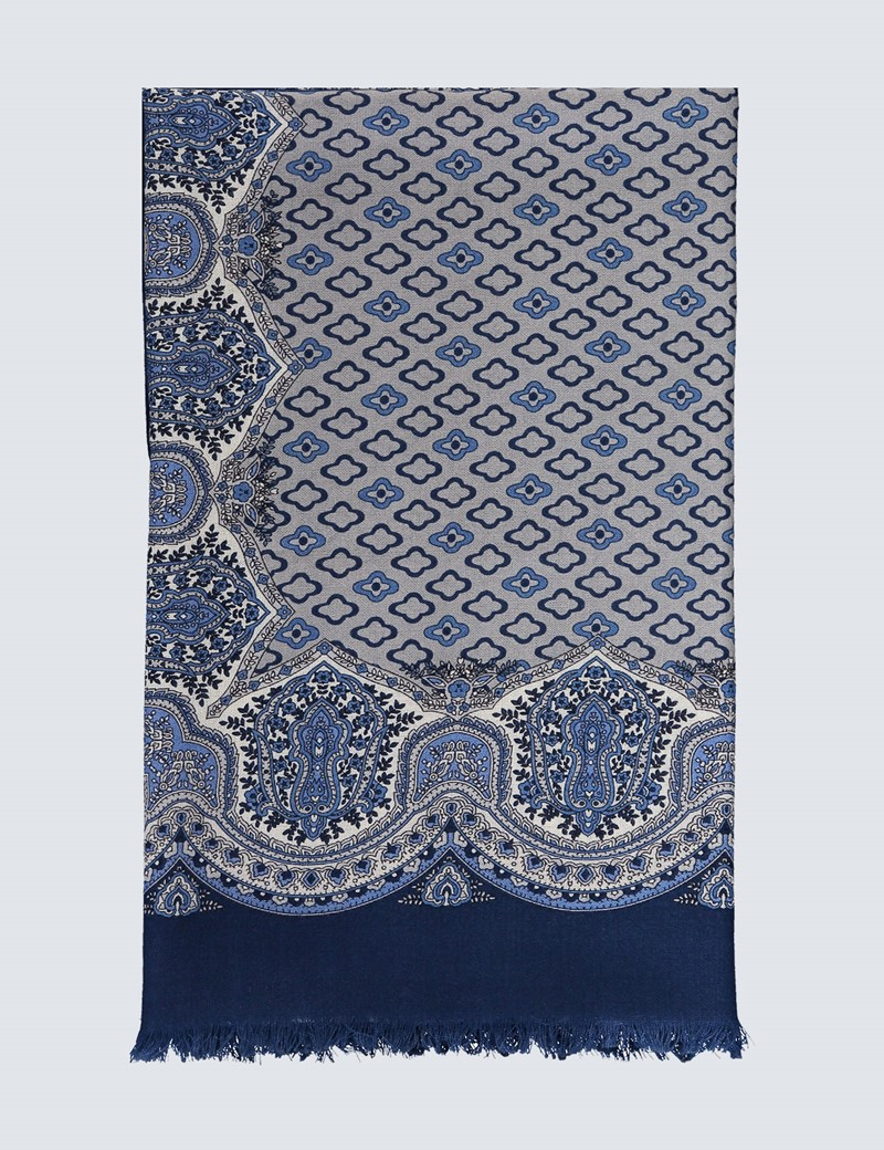 Blue & Grey Geometric Paisley Scarf - 100% Wool