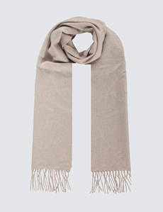 Plain Natural 100% Cashmere Woven Scarf